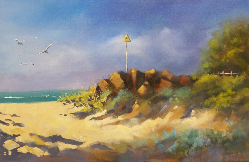 (CreativeWork) Early Morning, Lorne by Jo Taylor. oil-painting. Shop online at Bluethumb.