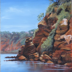 (CreativeWork) Red Cliffs Mentone by Jo Taylor. arcylic-painting. Shop online at Bluethumb.
