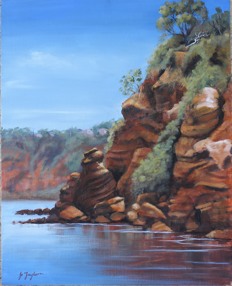 (CreativeWork) Red Cliffs Mentone by Jo Taylor. Acrylic Paint. Shop online at Bluethumb.