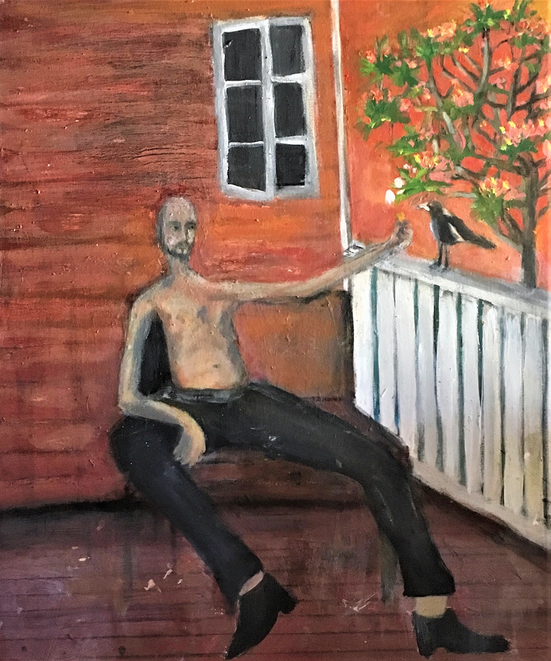 (CreativeWork) Self Portrait with Magpie by Tobias Broughton. Oil Paint. Shop online at Bluethumb.