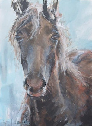 (CreativeWork) Hazel by Rebecca Hill. Acrylic Paint. Shop online at Bluethumb.