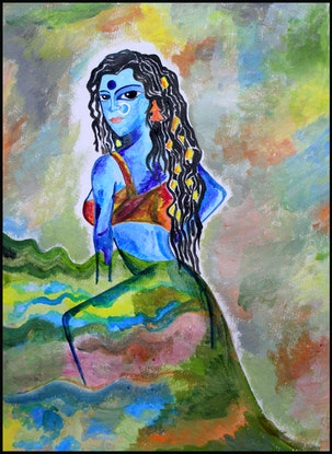 (CreativeWork) The age of Kali  by Ozy Mandiaz. Oil Paint. Shop online at Bluethumb.