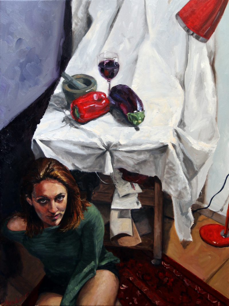 (CreativeWork) Maria with still life by James Needham. Oil Paint. Shop online at Bluethumb.
