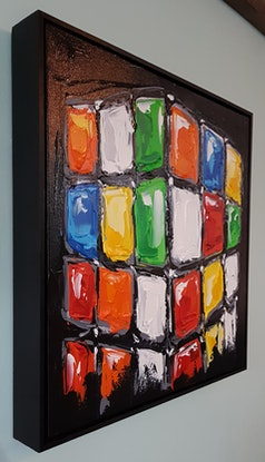 (CreativeWork) The Little Rubix Cube by Lisa Fahey. Acrylic Paint. Shop online at Bluethumb.