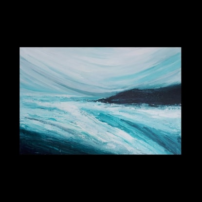 (CreativeWork) EMERALD SEA by Simone Melville. Acrylic Paint. Shop online at Bluethumb.