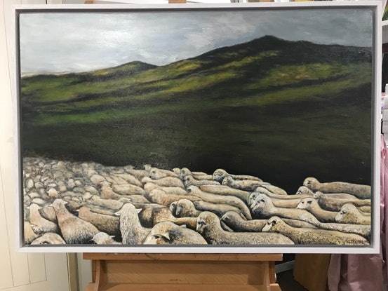 (CreativeWork) SHEEP IN THE VALLEY by LOUISE GROVE WIECHERS. Acrylic Paint. Shop online at Bluethumb.