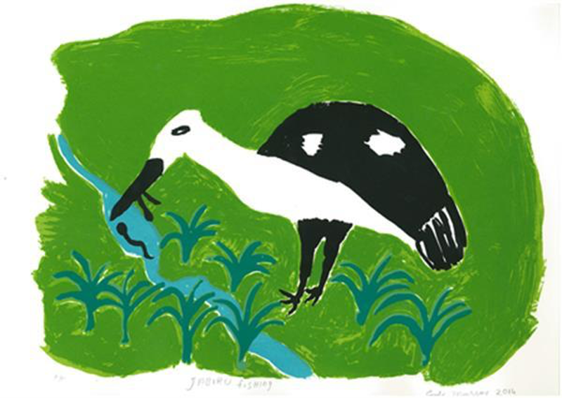 (CreativeWork) Jabiru Fishing  2/15 (Limited Edition Screen Print) by Emily Murray. other-media. Shop online at Bluethumb.
