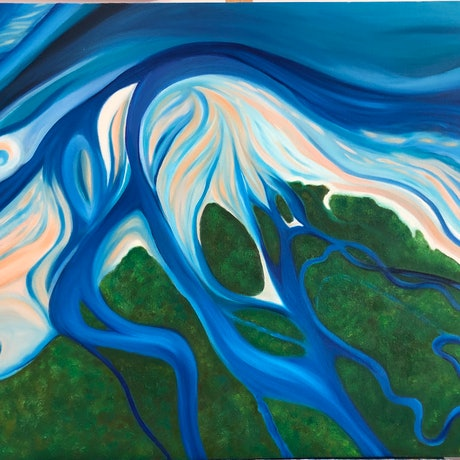 (CreativeWork) Where the Rainforest meets the Reef by Michele Dowe. Oil Paint. Shop online at Bluethumb.