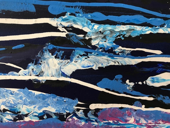 (CreativeWork) 'Waves at Sunrise' by Sally Yeates. Acrylic Paint. Shop online at Bluethumb.