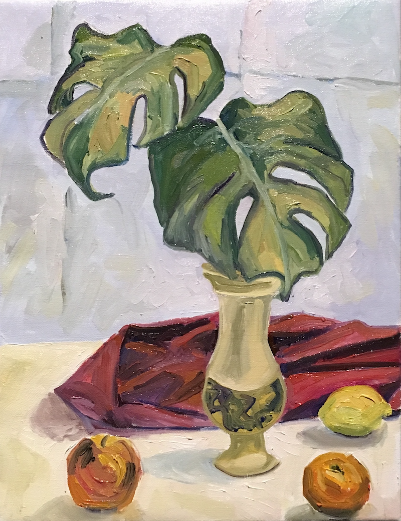(CreativeWork) Monstera leaves by Eva Miller. Oil Paint. Shop online at Bluethumb.