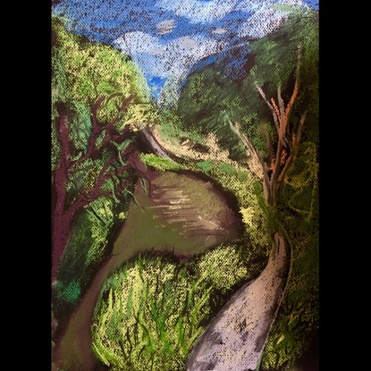 (CreativeWork) My favourite bend , Merri Creek by Gabrielle Fawkner. Drawings. Shop online at Bluethumb.