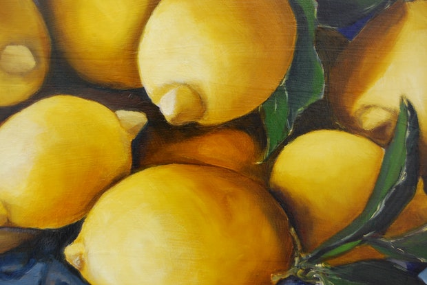 (CreativeWork) Lemons on blue and white plate by STELLA GREIG. Oil Paint. Shop online at Bluethumb.
