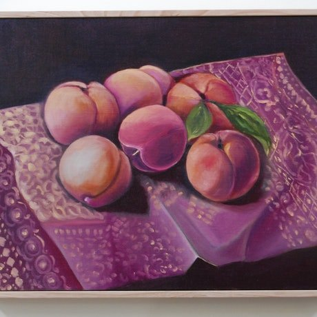 (CreativeWork) Still Life peaches on patterned cloth  (Framed) by STELLA GREIG. Oil Paint. Shop online at Bluethumb.