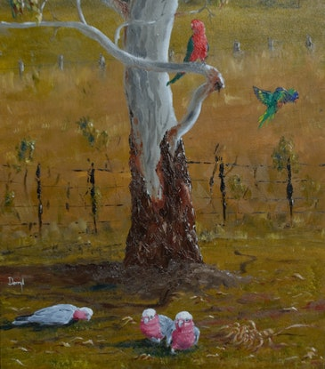 (CreativeWork) The Gangs All Here by darryl eustace. Oil Paint. Shop online at Bluethumb.