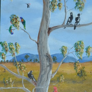 (CreativeWork) The Gangs All Here by darryl eustace. oil-painting. Shop online at Bluethumb.