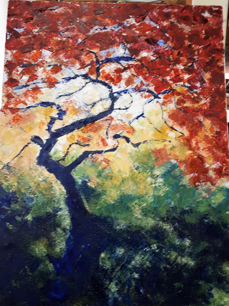 (CreativeWork) Japanese Tree by Jennifer Price. Oil Paint. Shop online at Bluethumb.