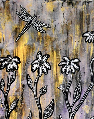 (CreativeWork) Golden Flower Moments by Linda Callaghan. Mixed Media. Shop online at Bluethumb.