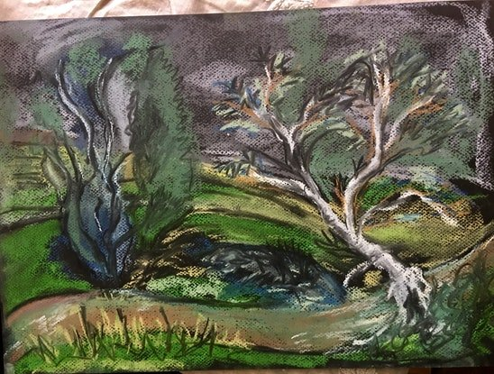 (CreativeWork) The creek at the end of the garden by Gabrielle Fawkner. Drawings. Shop online at Bluethumb.