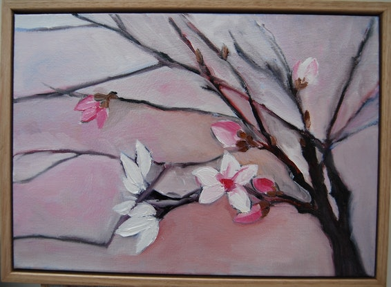 (CreativeWork) Spring blossom in Pink  (framed) by STELLA GREIG. Oil Paint. Shop online at Bluethumb.