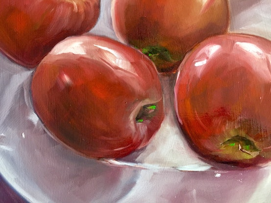 (CreativeWork) Still life plate of apples  (Framed) by STELLA GREIG. Oil Paint. Shop online at Bluethumb.