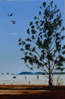 (CreativeWork) Low mist at foot of boat Mountain by darryl eustace. Oil Paint. Shop online at Bluethumb.