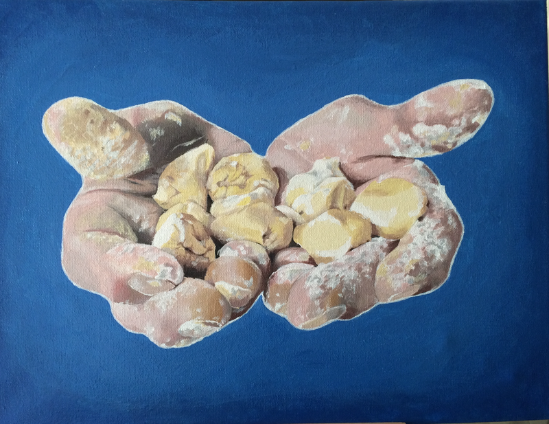 (CreativeWork) Making Gnocchi with Mary by Mandy Page. Acrylic Paint. Shop online at Bluethumb.
