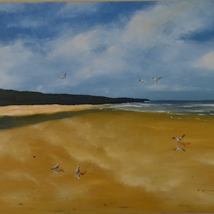 (CreativeWork) The Beach to Themselves by darryl eustace. oil-painting. Shop online at Bluethumb.