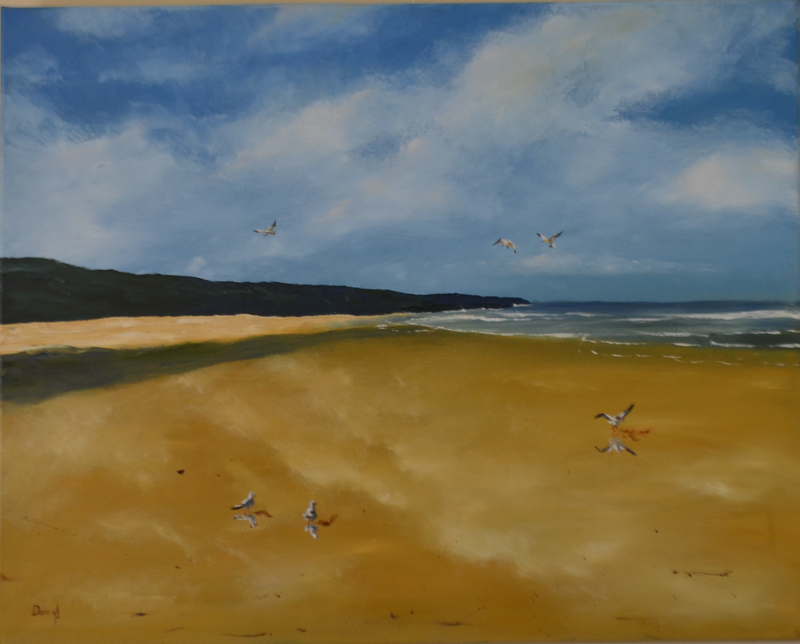 (CreativeWork) The Beach to Themselves by darryl eustace. Oil Paint. Shop online at Bluethumb.