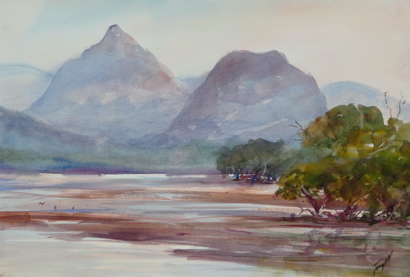 (CreativeWork) Glasshouse Mountains 5 by TONY WALKER. watercolour. Shop online at Bluethumb.