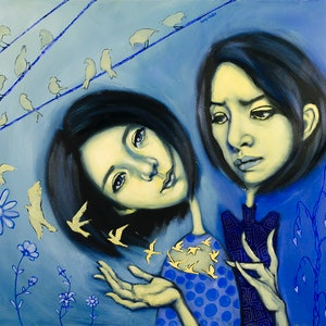 (CreativeWork) Two Sides of Me by Lucy Chen. oil-painting. Shop online at Bluethumb.