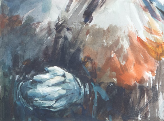 (CreativeWork) Lady with Gloves by Tony Belobrajdic. Watercolour Paint. Shop online at Bluethumb.