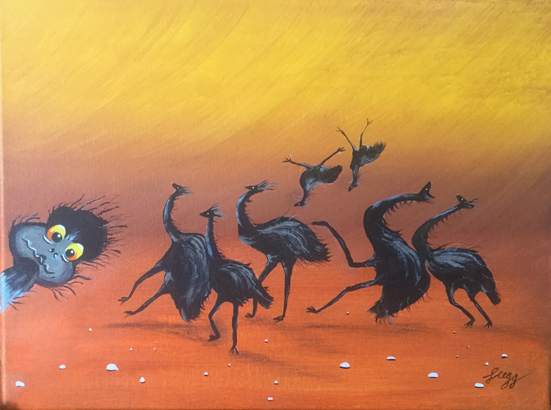 (CreativeWork) It's a windy day Doreen by Geoff Lugg. Acrylic Paint. Shop online at Bluethumb.