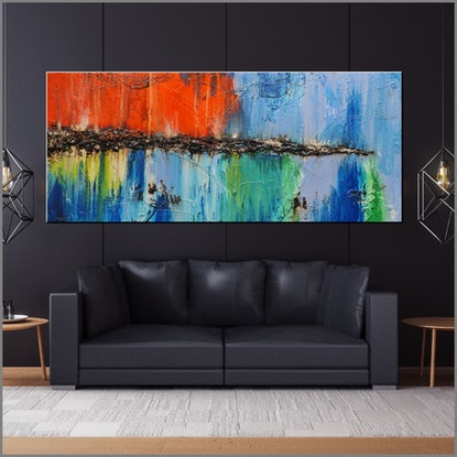 (CreativeWork) Natural Dream 240cm x 100cm  Blue Orange Green textured Acrylic Abstract Gloss Finish by _Franko _. Acrylic Paint. Shop online at Bluethumb.