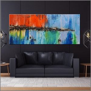 (CreativeWork) Natural Dream 240cm x 100cm  Blue Orange Green textured Acrylic Abstract Gloss Finish by _Franko _. arcylic-painting. Shop online at Bluethumb.