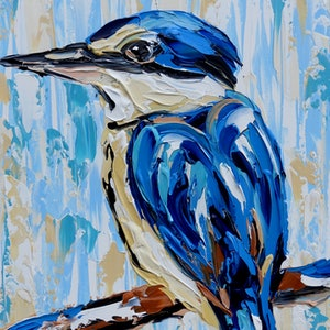 (CreativeWork) Sacred Kingfisher - Quick Study  by Lisa Fahey. arcylic-painting. Shop online at Bluethumb.
