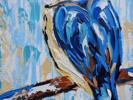 (CreativeWork) Sacred Kingfisher - Quick Study  by Lisa Fahey. Acrylic Paint. Shop online at Bluethumb.