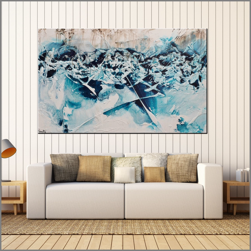 (CreativeWork) Turquoise Rush 160cm x 100cm  Turquoise Blue Green Infused Ink White Abstract Textured Acrylic With Gloss Finish  by _Franko _. arcylic-painting. Shop online at Bluethumb.