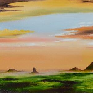 (CreativeWork) Glass House Mountains by darryl eustace. oil-painting. Shop online at Bluethumb.