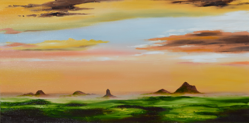 (CreativeWork) Glass House Mountains by darryl eustace. Oil Paint. Shop online at Bluethumb.