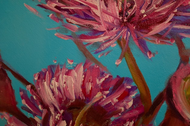 (CreativeWork) Pink Eucalyptus Gum Blossoms Oil Painting by Chris Hobel. Oil Paint. Shop online at Bluethumb.