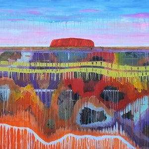 (CreativeWork) Uluru by Dianne Delandro. arcylic-painting. Shop online at Bluethumb.