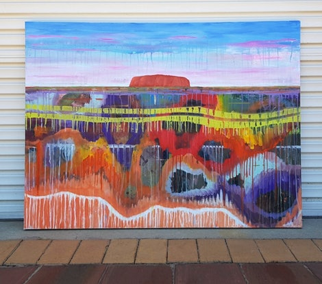 (CreativeWork) Uluru by Dianne Delandro. Acrylic Paint. Shop online at Bluethumb.