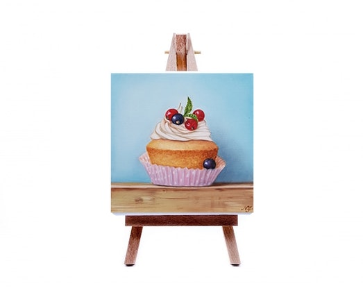 (CreativeWork) Berries Cupcake - Still life oil painting by Natasha Junmanee. Oil Paint. Shop online at Bluethumb.