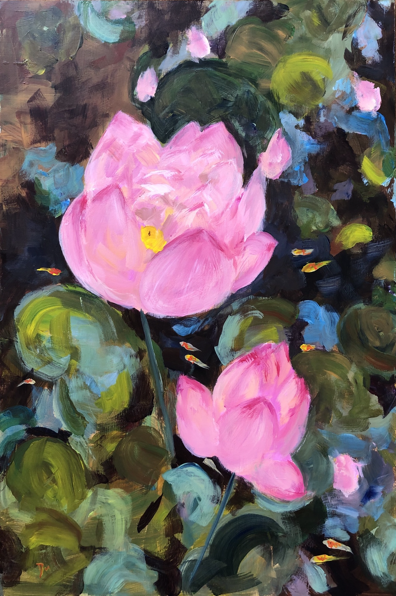 (CreativeWork) Lotus pond with gold fish by Shelly Du. Acrylic Paint. Shop online at Bluethumb.