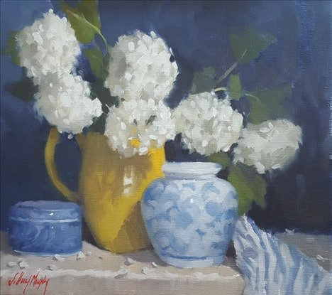 (CreativeWork) Snow Balls in a Yellow Jug by Jeffrey Murphy. Oil Paint. Shop online at Bluethumb.
