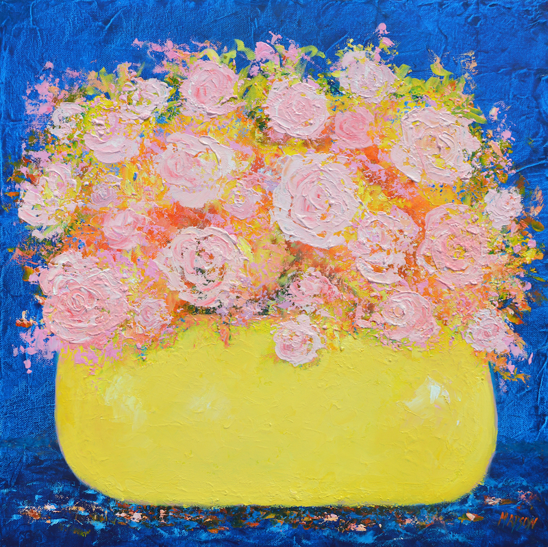 (CreativeWork) PINK ROSES ABSTRACT by Jan Matson. Oil Paint. Shop online at Bluethumb.