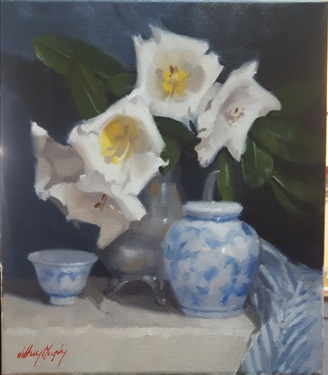 (CreativeWork) Rhododendron Kallista by Jeffrey Murphy. Oil Paint. Shop online at Bluethumb.