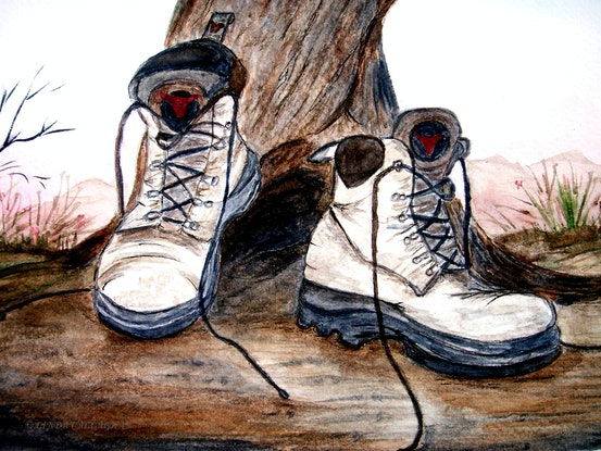 (CreativeWork) Boots by Linda Callaghan. Watercolour Paint. Shop online at Bluethumb.