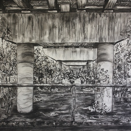 (CreativeWork) Under Monks Bridge by jane parker. Drawings. Shop online at Bluethumb.