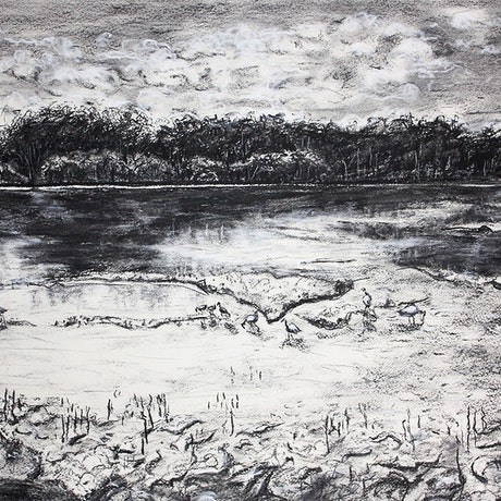 (CreativeWork) Lake Weyba Afternoon by jane parker. Drawings. Shop online at Bluethumb.